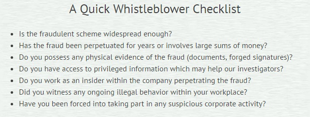 Whistleblower protection checklist